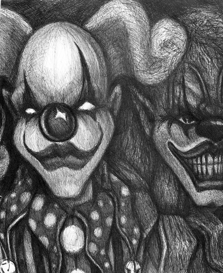Two Faced Demon Clowns Drawing by Mike Distel