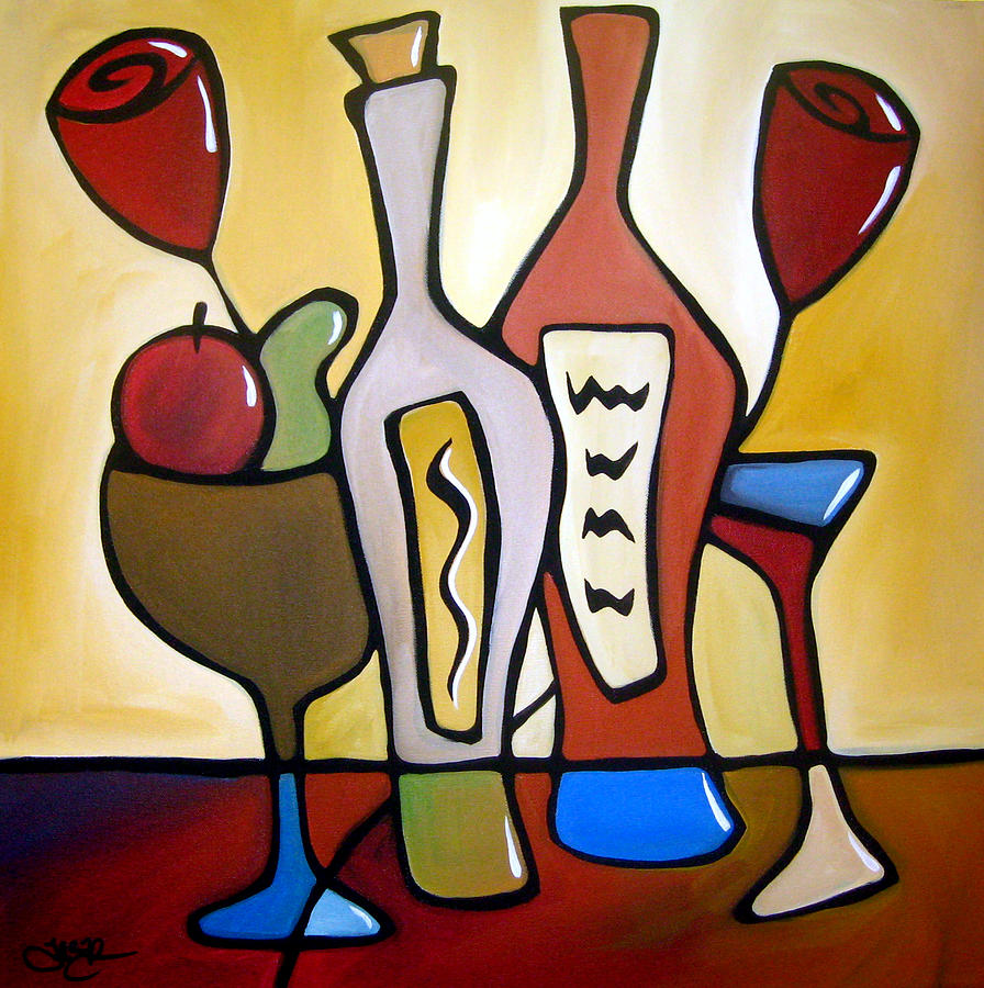 Two-fer - Abstract Wine Art By Fidostudio Painting