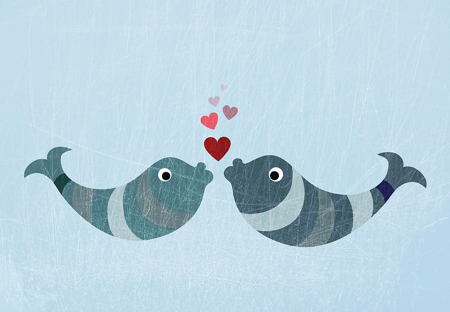Two Fish Kissing Digital Art  - Two Fish Kissing Fine Art Print