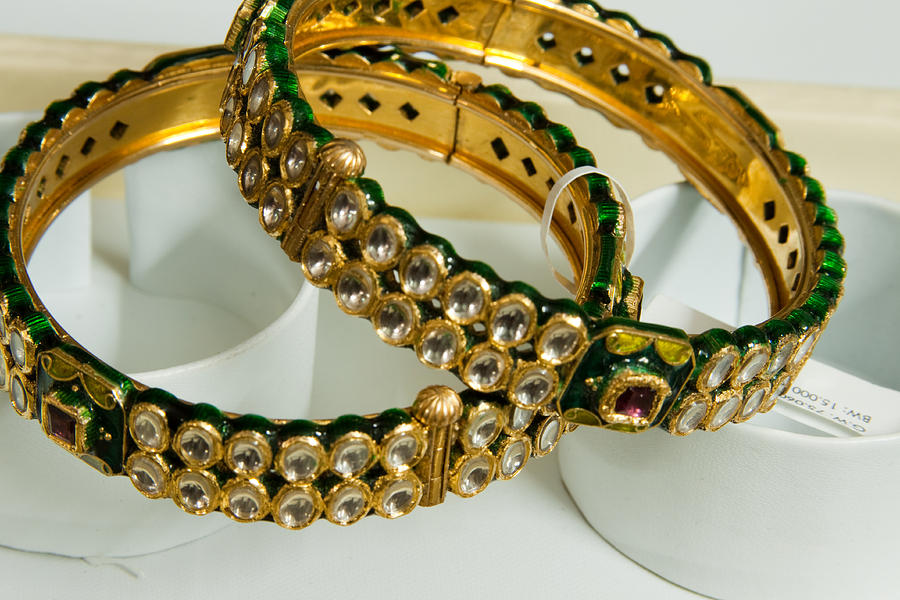 Bangle Photograph - Two Green And Gold Bangles On Top Of Each Other by Ashish Agarwal