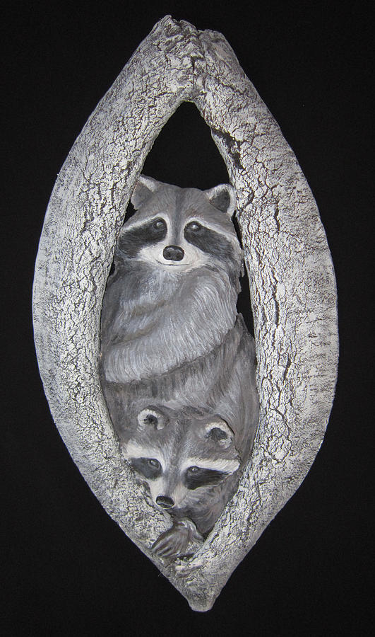 Racoon Sculpture - Two In A Tree by Janet Knocke