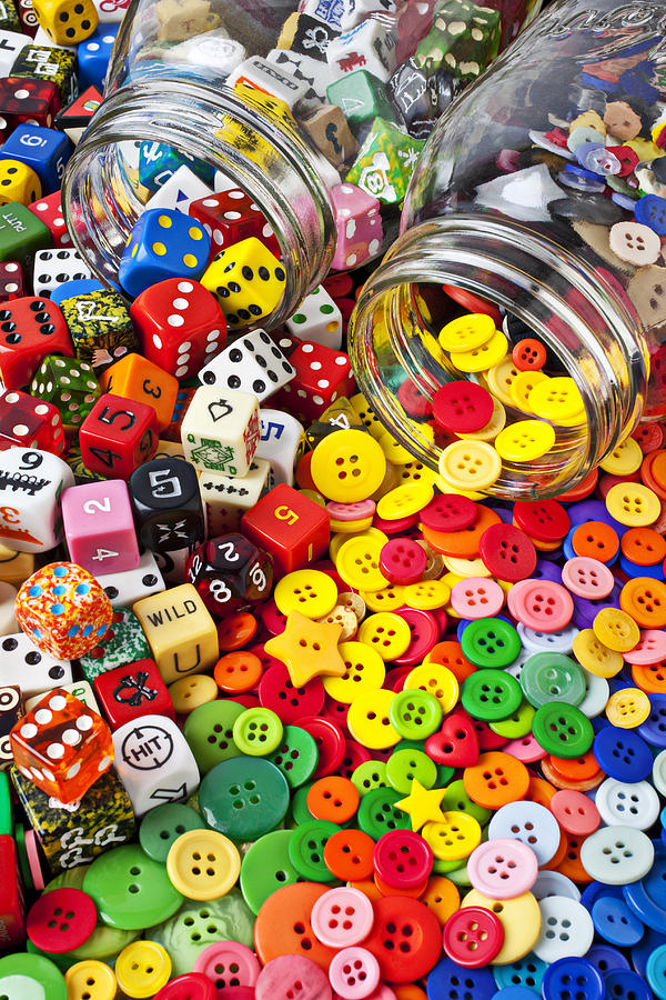 Jar Dice Games Play Numbers Gamble Photograph - Two Jars Dice And Buttons by Garry Gay