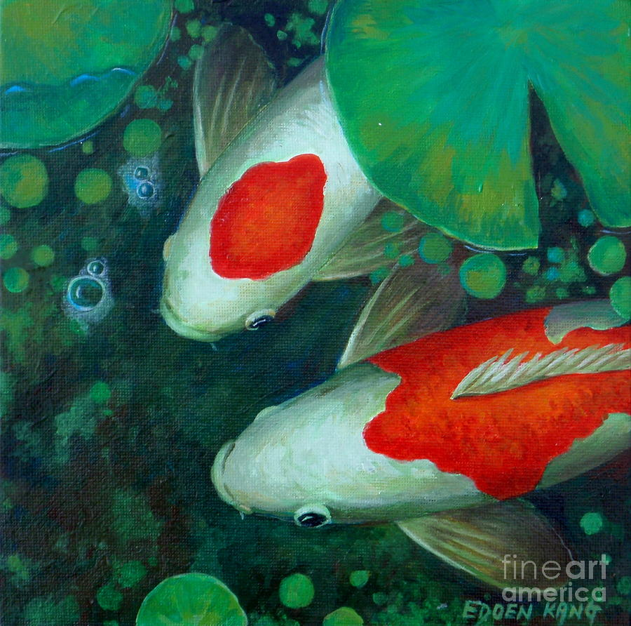 Two koi painting by edoen kang for Koi pool paint