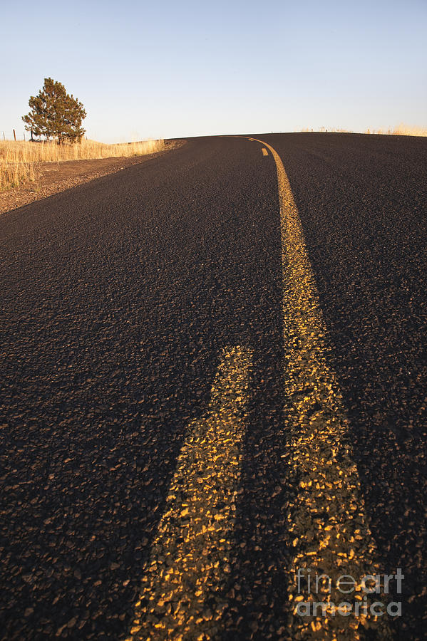 Asphalt Photograph - Two Lane Road Between Fields by Jetta Productions, Inc