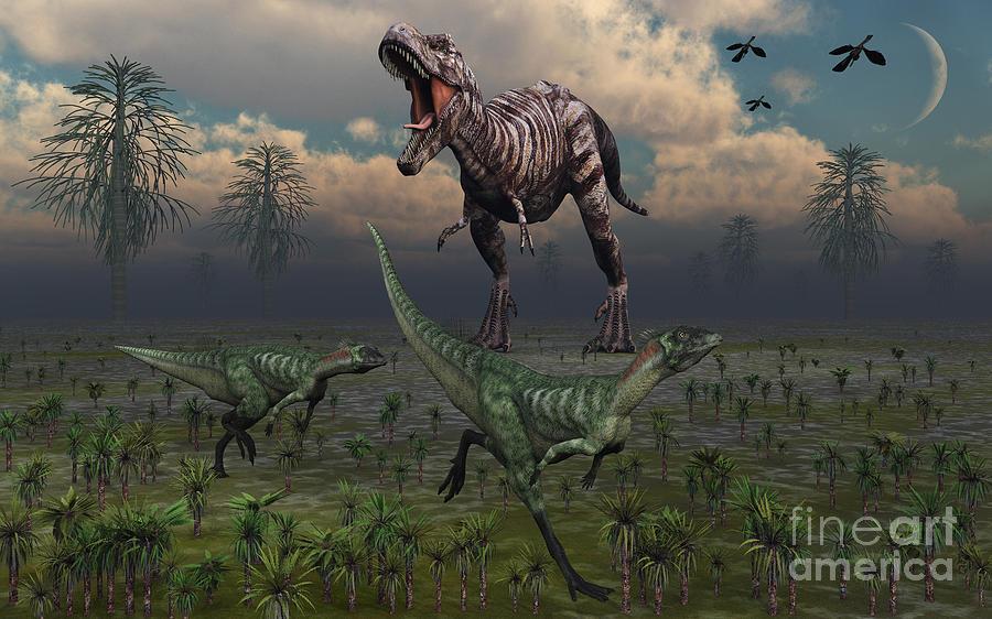 Two Lesothosaurus Dinosaurs Run Digital Art