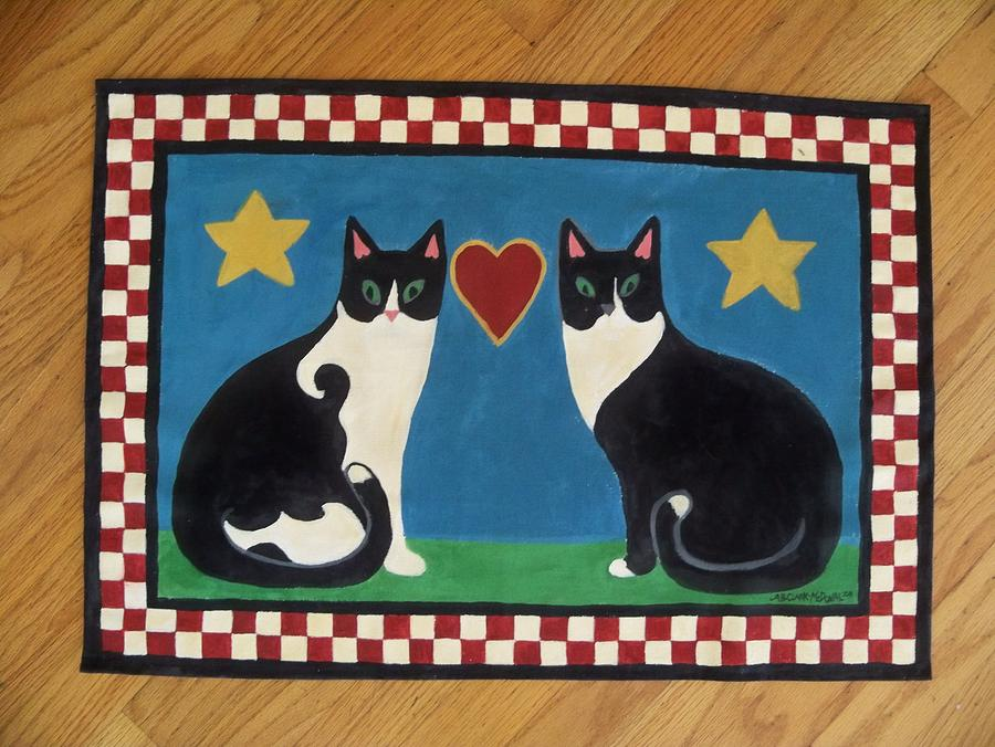 Two Mewses Primitive Floor Cloth Painting