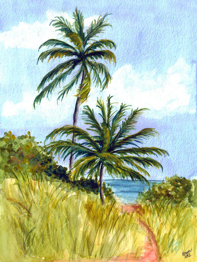 Two Palms Painting  - Two Palms Fine Art Print