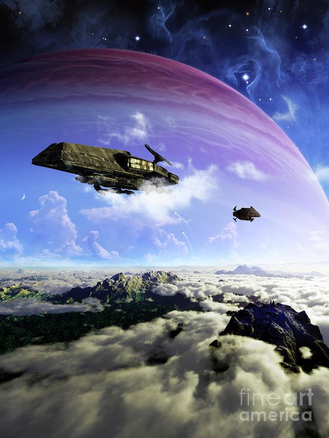 Two Spacecraft Prepare To Depart Digital Art