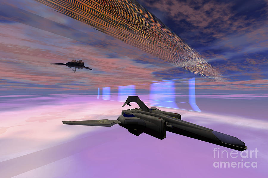 Outer Space Digital Art - Two Starships Warp Along Space Enegy by Corey Ford