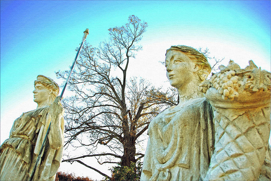 Two Statues- Amazing Statues- Statues And A Tree- Two Statues Blue Sky  Photograph - Two Statues by Janet G T