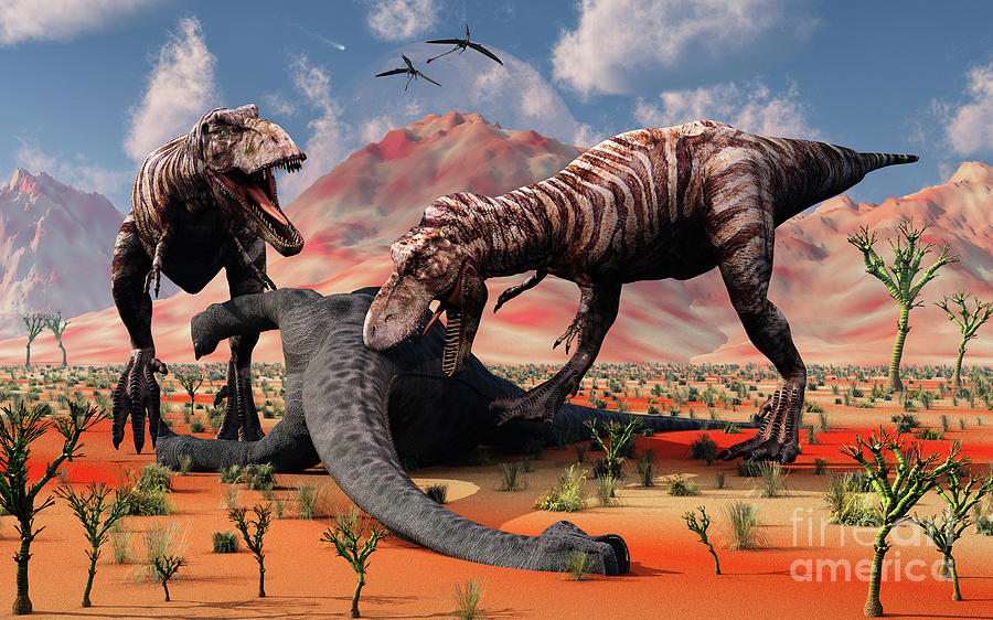 Two T. Rex Dinosaurs Feed Digital Art  - Two T. Rex Dinosaurs Feed Fine Art Print