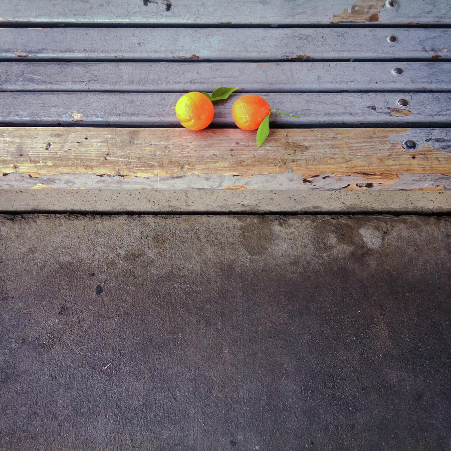 Square Photograph - Two Tangerines by Sarah Palmer