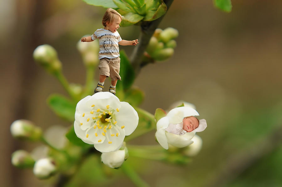 Two Tiny Kids Playing On Flowers Photograph