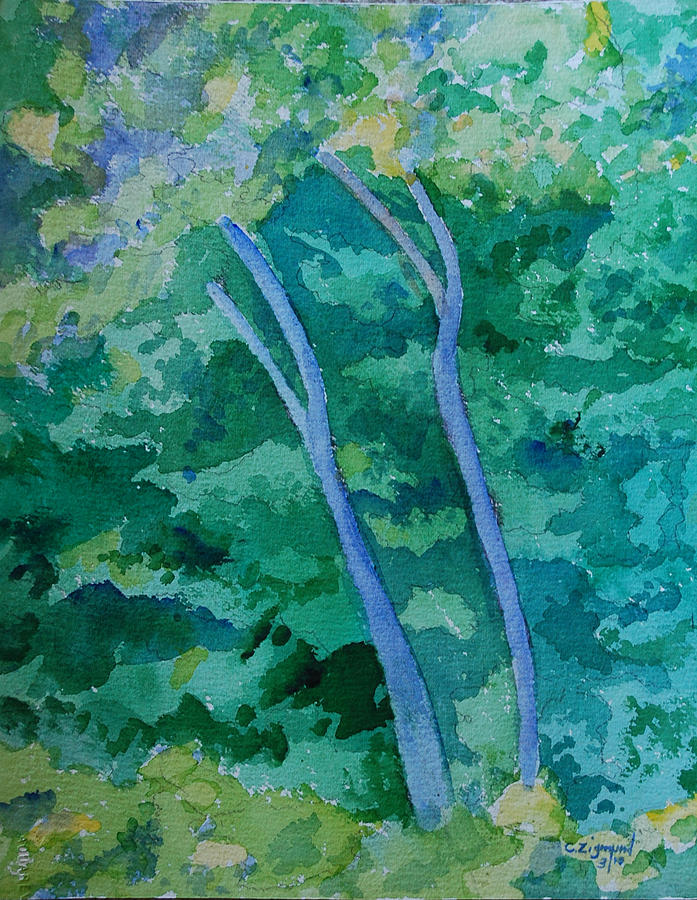 Two Trees In A Forest Painting