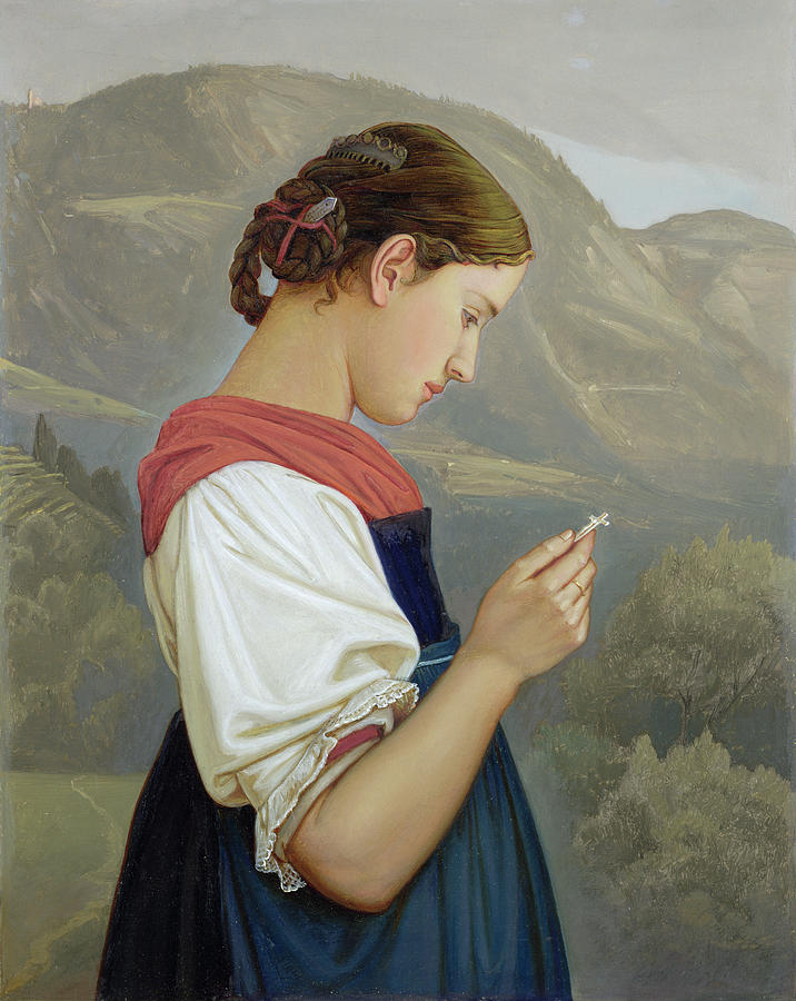 Tyrolean Girl Contemplating A Crucifix Painting