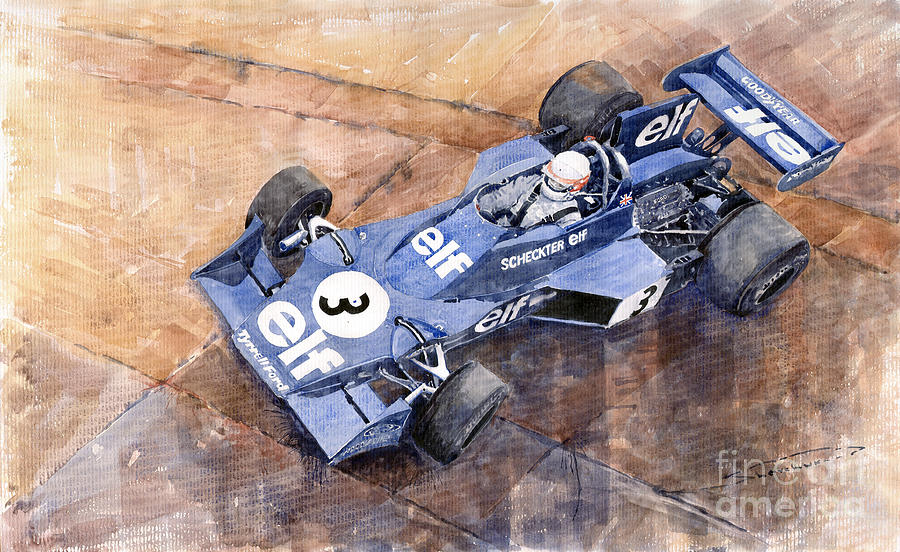 Tyrrell Ford 007 Jody Scheckter 1974 Swedish Gp Painting  - Tyrrell Ford 007 Jody Scheckter 1974 Swedish Gp Fine Art Print