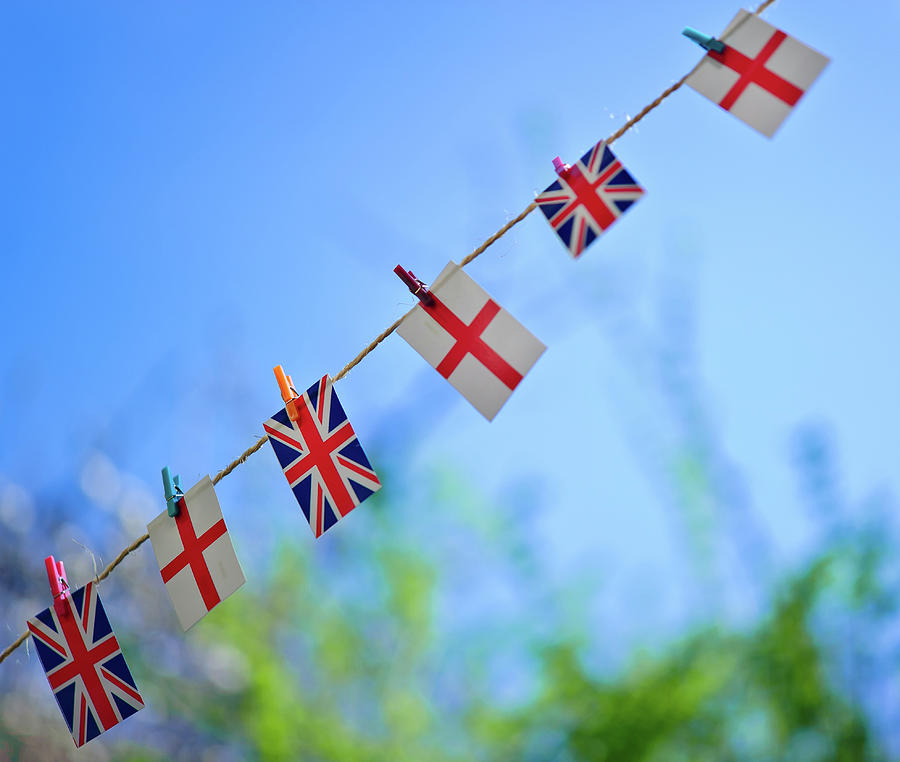 Uk And English Flags On Rope Line Photograph  - Uk And English Flags On Rope Line Fine Art Print