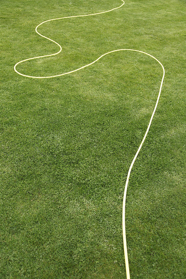 Uk, England, Oxford, Garden Hose On Grass Photograph  - Uk, England, Oxford, Garden Hose On Grass Fine Art Print