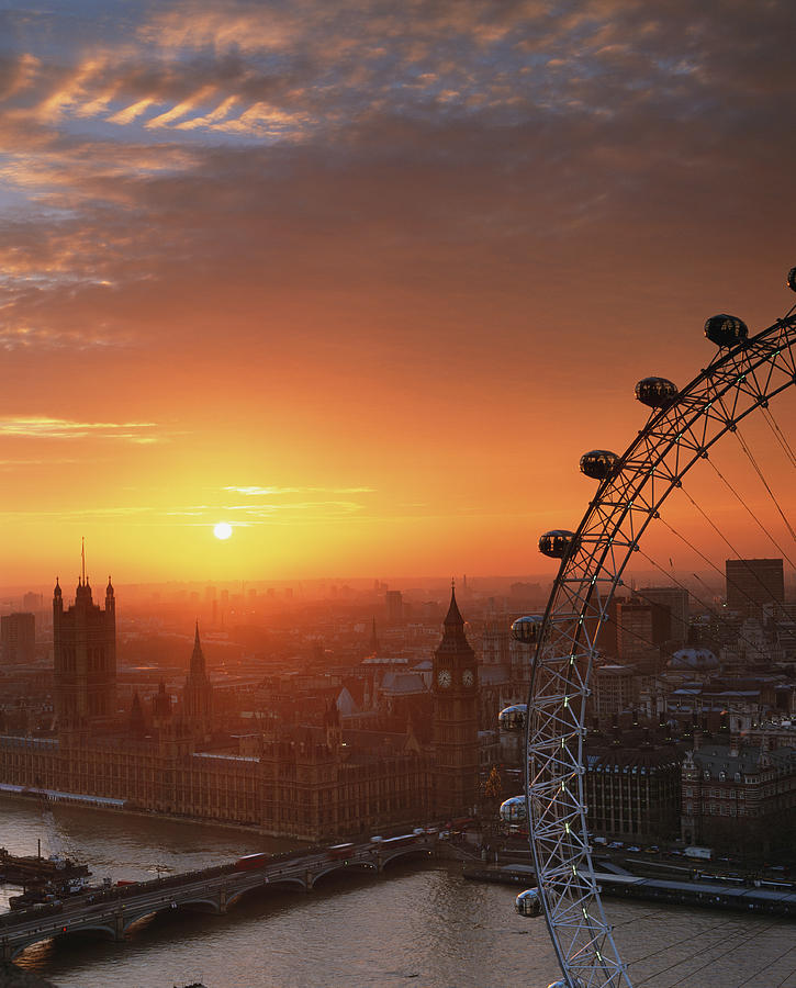 Uk, London, Millennium Wheel And Cityscape, Sunset, Elevated View Photograph