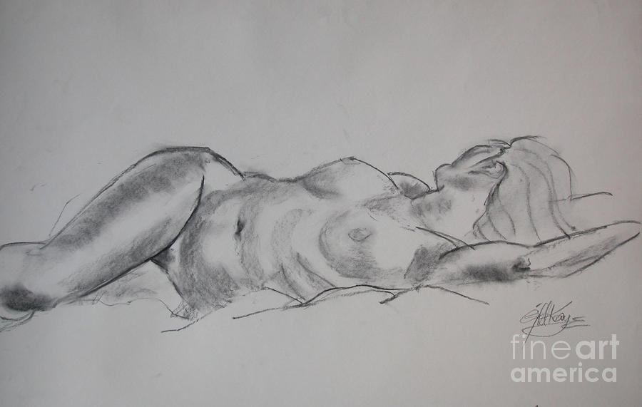 Ulrike Reclining Drawing  - Ulrike Reclining Fine Art Print