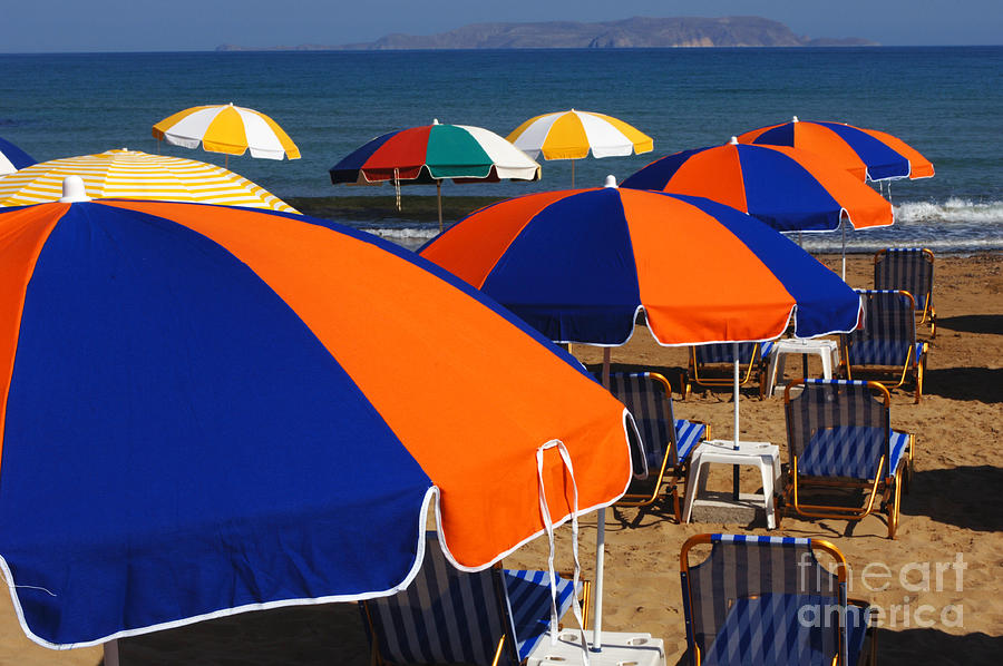 Umbrellas Of Crete Photograph  - Umbrellas Of Crete Fine Art Print