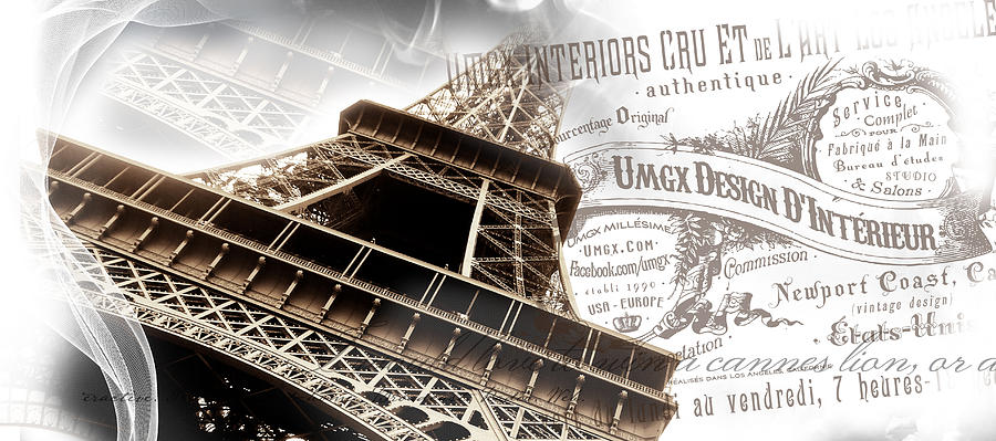 Umgx Vintage Design Parisian Photo With Type Crest Digital Art  - Umgx Vintage Design Parisian Photo With Type Crest Fine Art Print