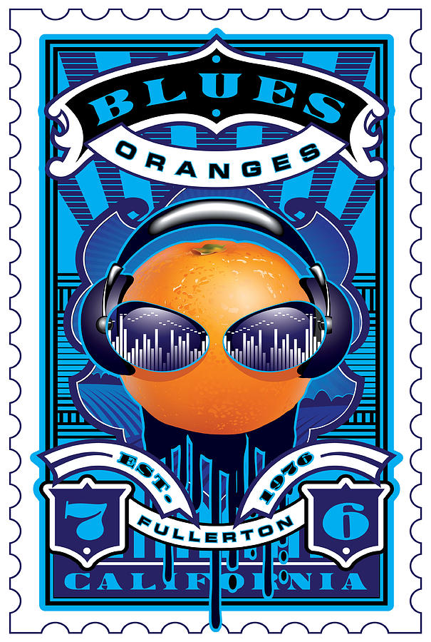 Umgx Vintage Studios Blues Orange Dj Illustrated Stamp Art Digital Art  - Umgx Vintage Studios Blues Orange Dj Illustrated Stamp Art Fine Art Print