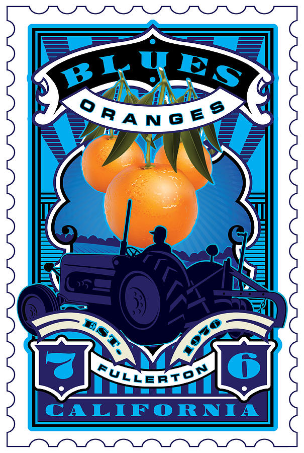 Umgx Vintage Studios Blues Orange Farm Illustrated Stamp Art Digital Art  - Umgx Vintage Studios Blues Orange Farm Illustrated Stamp Art Fine Art Print