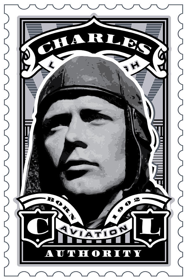 Umgx Vintage Studios Charles Lindbergh Illustrated Stamp Art Digital Art  - Umgx Vintage Studios Charles Lindbergh Illustrated Stamp Art Fine Art Print