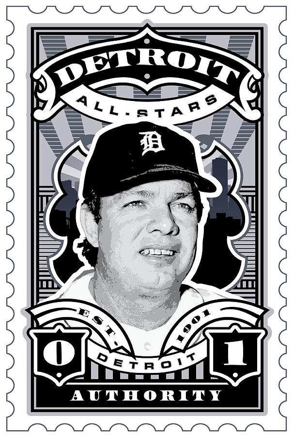 Umgx Vintage Studios Norm Cash Detroit All-stars Illustrated Stamp Art Poster Digital Art  - Umgx Vintage Studios Norm Cash Detroit All-stars Illustrated Stamp Art Poster Fine Art Print