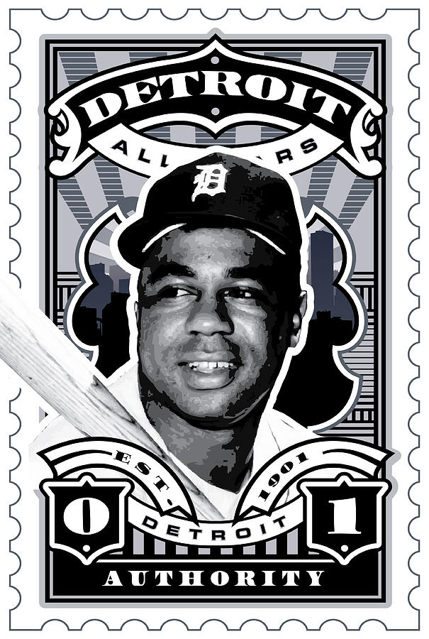 Umgx Vintage Studios Willie Horton Detroit All-stars Illustrated Stamp Art Poster Digital Art  - Umgx Vintage Studios Willie Horton Detroit All-stars Illustrated Stamp Art Poster Fine Art Print