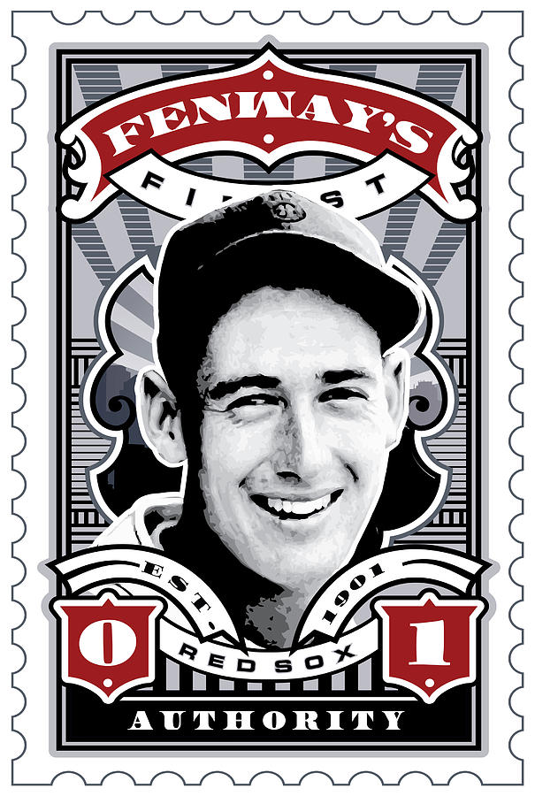 Umgx Vintage Ted Williams Illustrated Fenways Finest Stamp Art Poster   Digital Art  - Umgx Vintage Ted Williams Illustrated Fenways Finest Stamp Art Poster   Fine Art Print