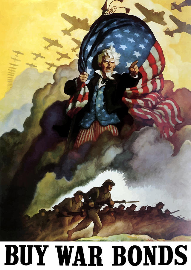 Uncle Sam Buy War Bonds Painting  - Uncle Sam Buy War Bonds Fine Art Print