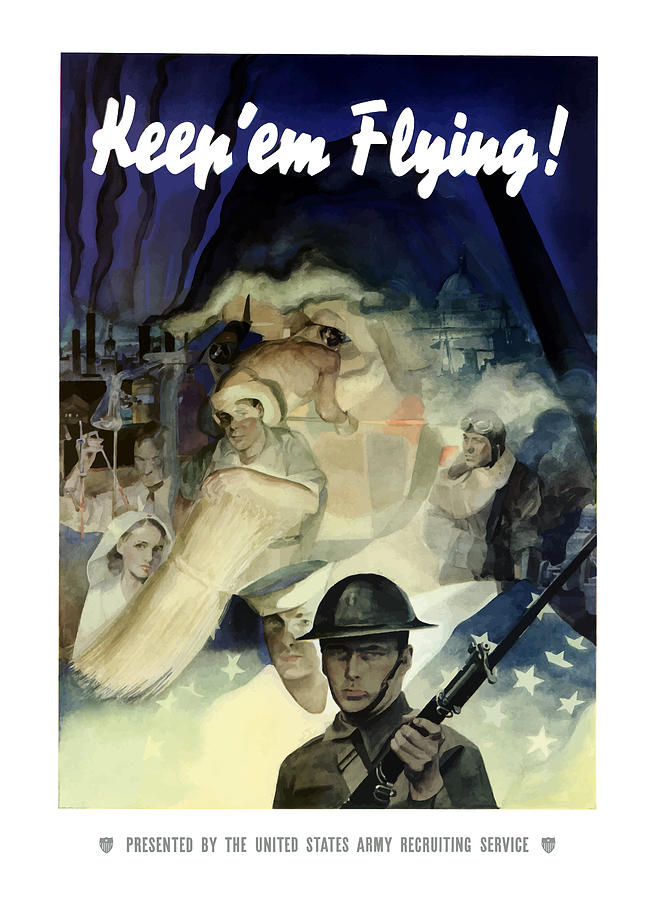 Uncle Sam Keep em Flying  Painting  - Uncle Sam Keep em Flying  Fine Art Print