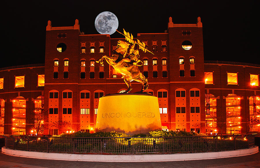 Unconquered And Full Moon Photograph