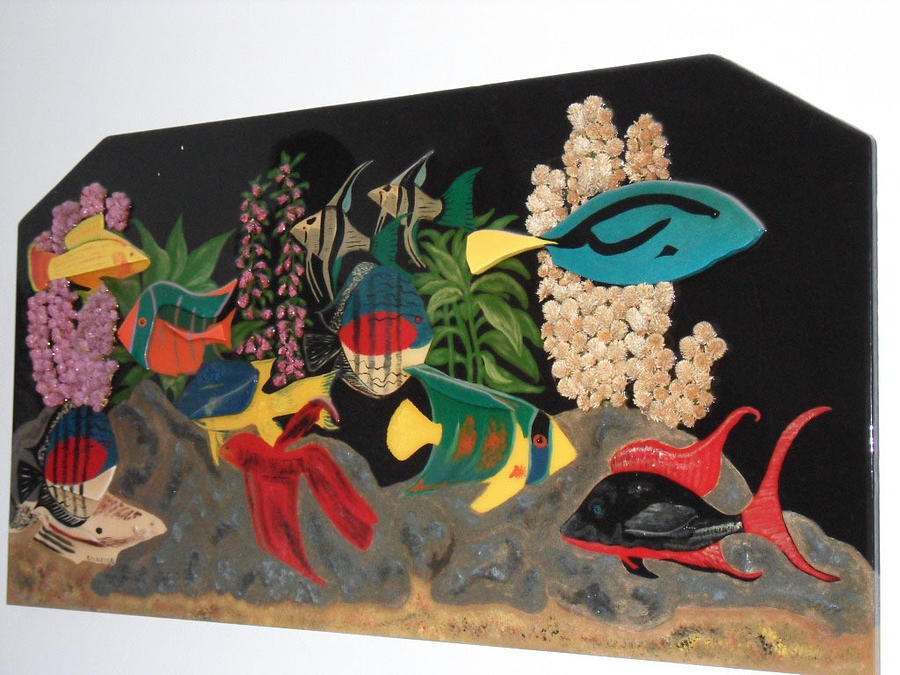 Fish Mixed Media - Under The Water In Wood by Val Oconnor