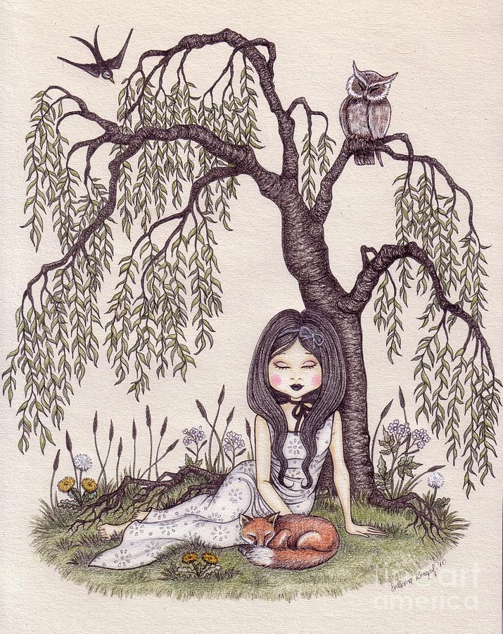 Under The Willow Tree Drawing  - Under The Willow Tree Fine Art Print