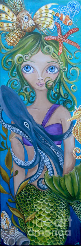 Underwater Mermaid Painting  - Underwater Mermaid Fine Art Print