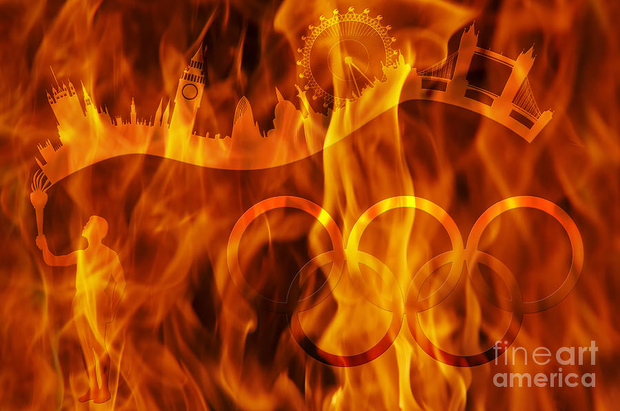 undying Olympic flame Digital Art  - undying Olympic flame Fine Art Print