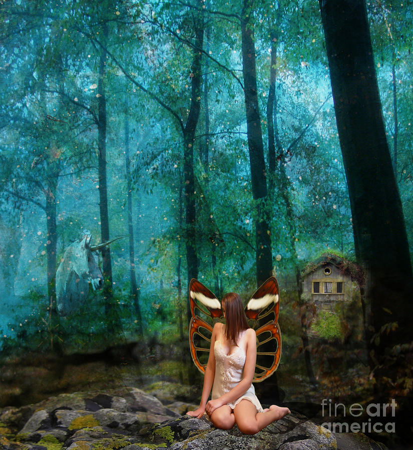 Unicorn In The Forest Digital Art  - Unicorn In The Forest Fine Art Print
