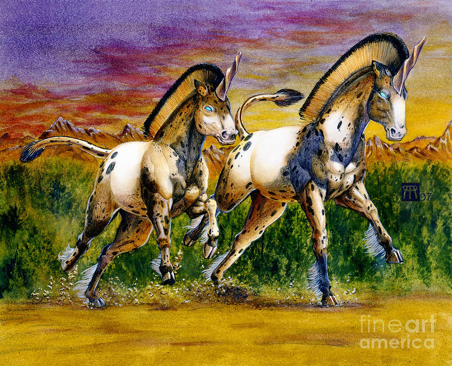 Unicorns In Sunset Painting
