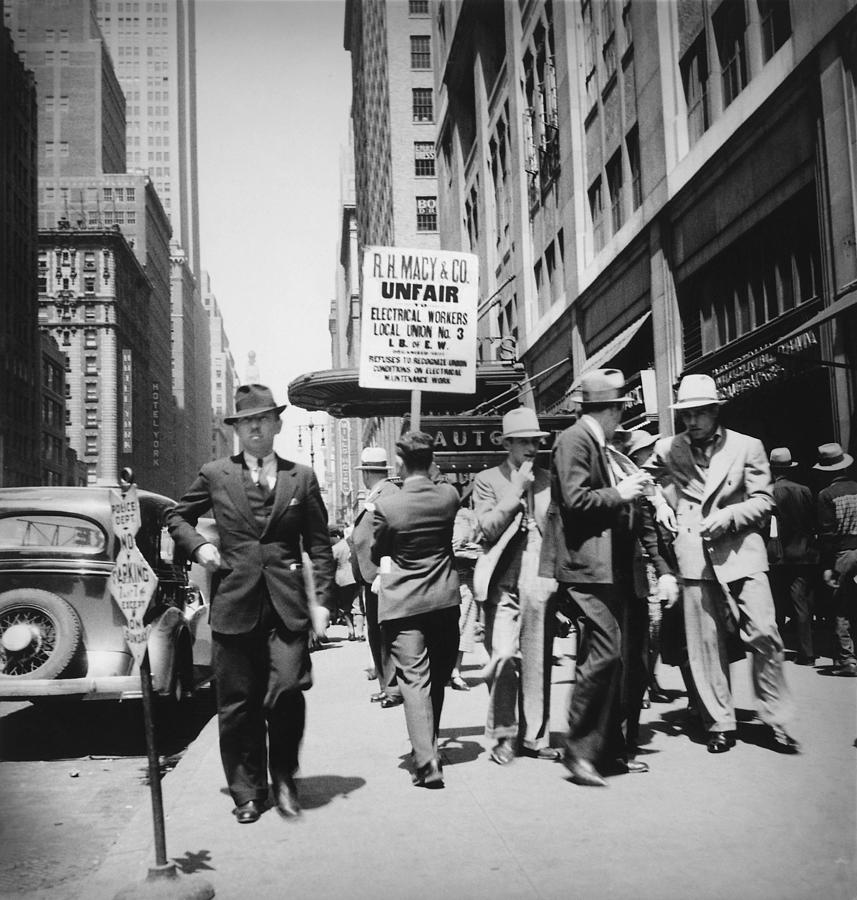 Union Men Picketing Macys Department Photograph  - Union Men Picketing Macys Department Fine Art Print