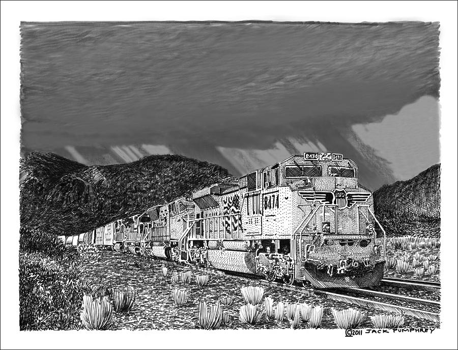 Union Pacific Diesels And Monsoon Drawing  - Union Pacific Diesels And Monsoon Fine Art Print