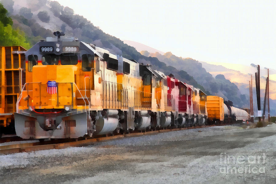 Union Pacific Locomotives Along The Hills Of Martinez California . 7d10563 Photograph  - Union Pacific Locomotives Along The Hills Of Martinez California . 7d10563 Fine Art Print