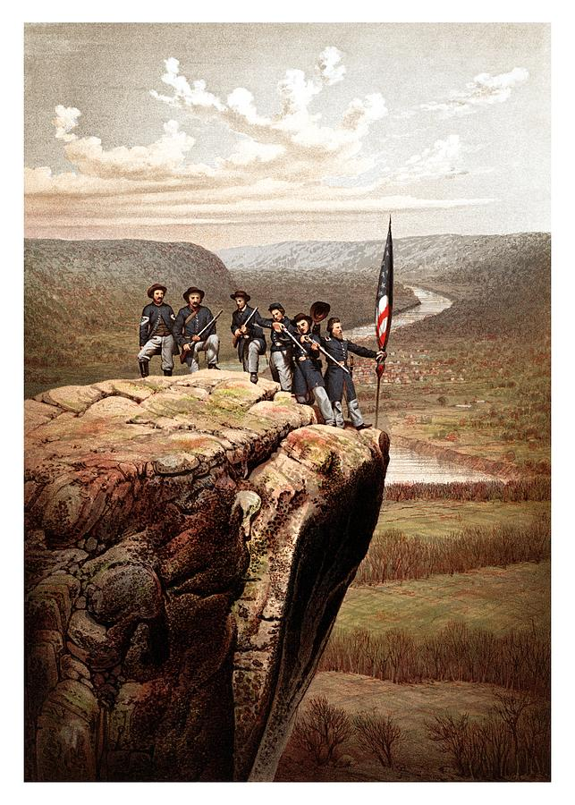 Union Soldiers On Lookout Mountain Painting