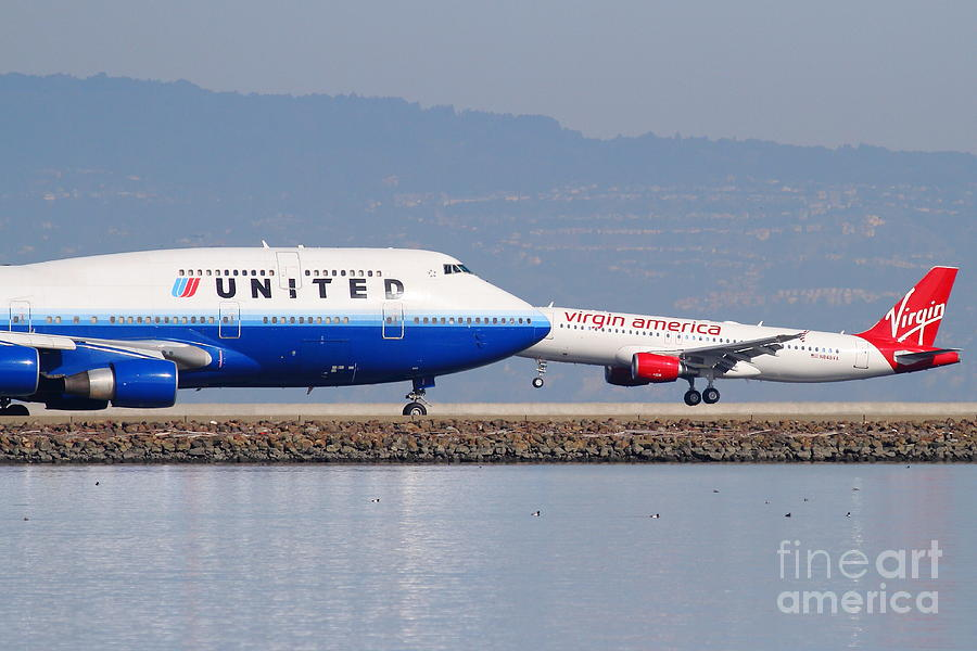 Virgin Photograph - United Airlines And Virgin America Airlines Jet Airplanes At San Francisco International Airport Sfo by Wingsdomain Art and Photography