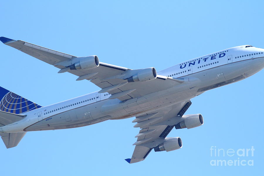 United Airlines Boeing 747 . 7d7838 Photograph