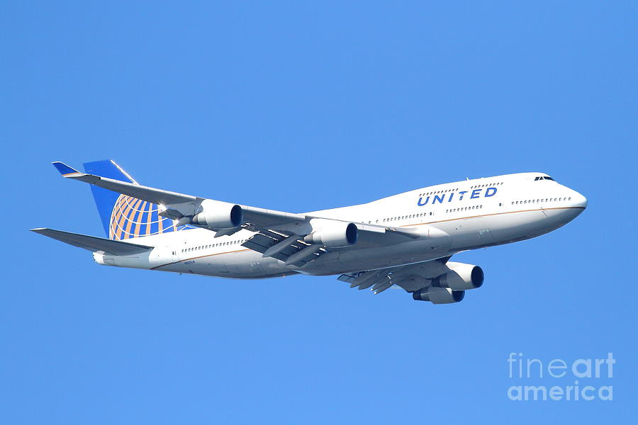 United Airlines Boeing 747 . 7d7850 Photograph  - United Airlines Boeing 747 . 7d7850 Fine Art Print