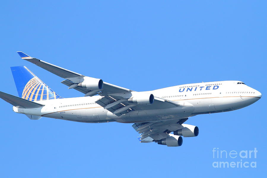 United Airlines Boeing 747 . 7d7852 Photograph
