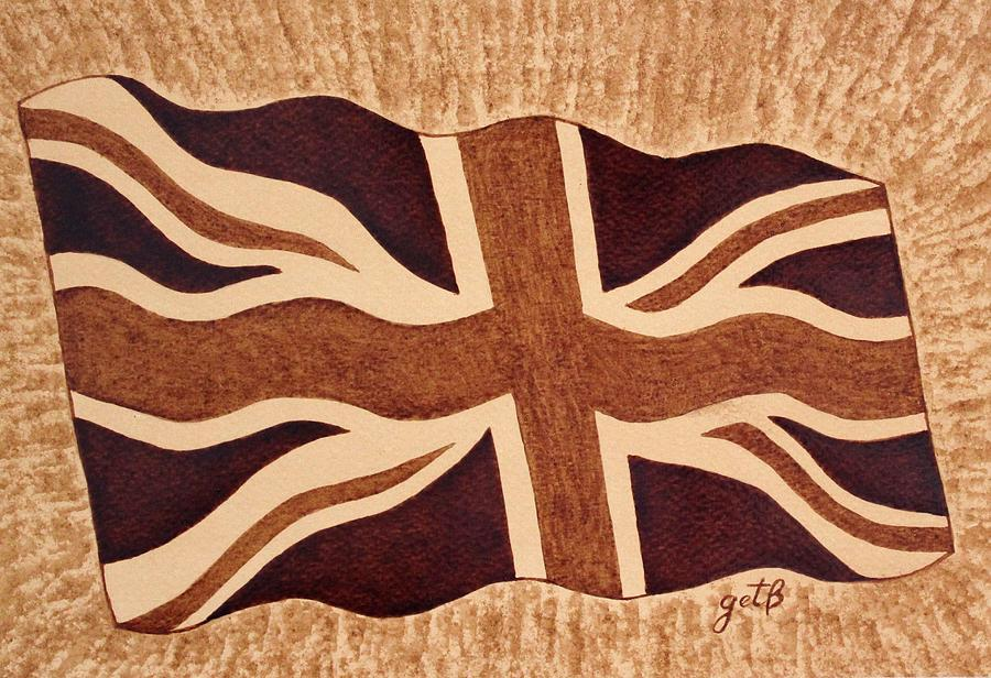 United Kingdom Flag Coffee Painting Painting  - United Kingdom Flag Coffee Painting Fine Art Print